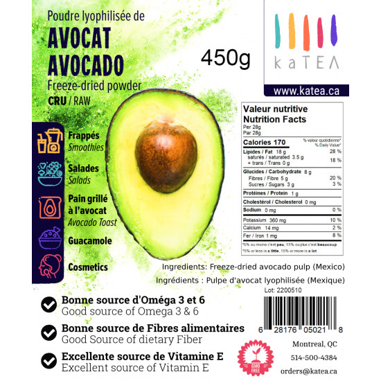 Freeze-dried Avocado Powder (450 grams)